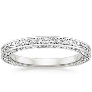 15 18K White Gold Delicate Antique Scroll Ring