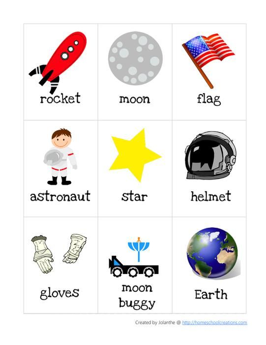 space themed vocabulary cards--what the hell? There's no reason to bother preschool kids with this nonsense.