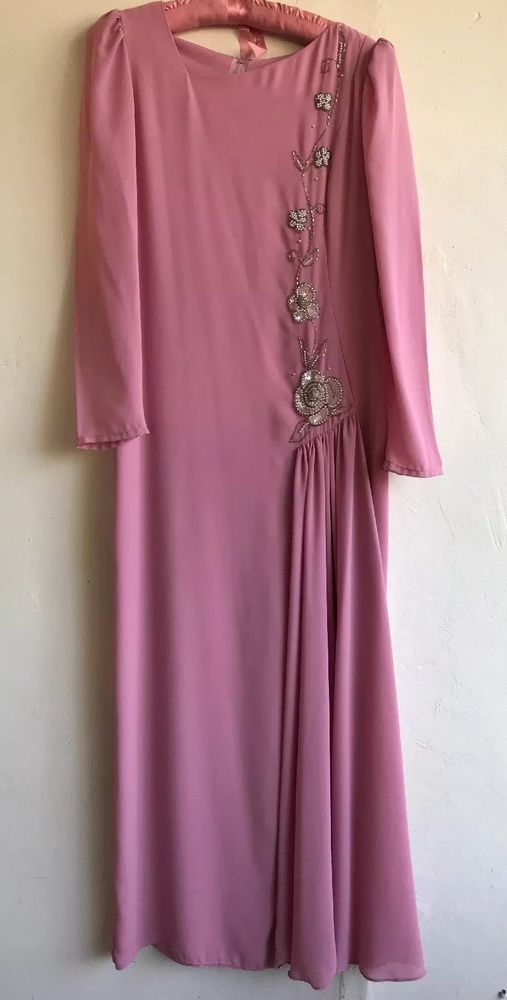 36e4b4fa357 Vintage Mother of the Bride Gown Dress Size 10 Mauve Rose Pink Prom Party  Beaded