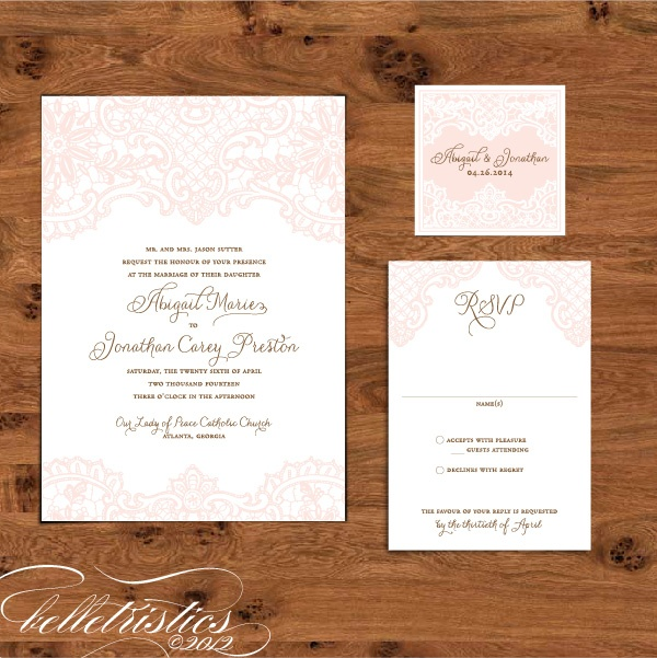 Romantic Elegant Lace Print Your Own Wedding Invitation Design