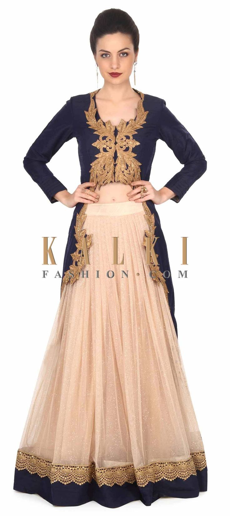 Buy this Beige lehenga matched with navy blue jacket only on Kalki