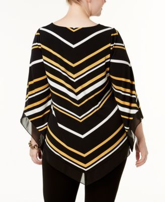 Alfani Plus Size Chevron-Stripe Chiffon-Trim Tunic, Created for Macy's - Yellow 0X