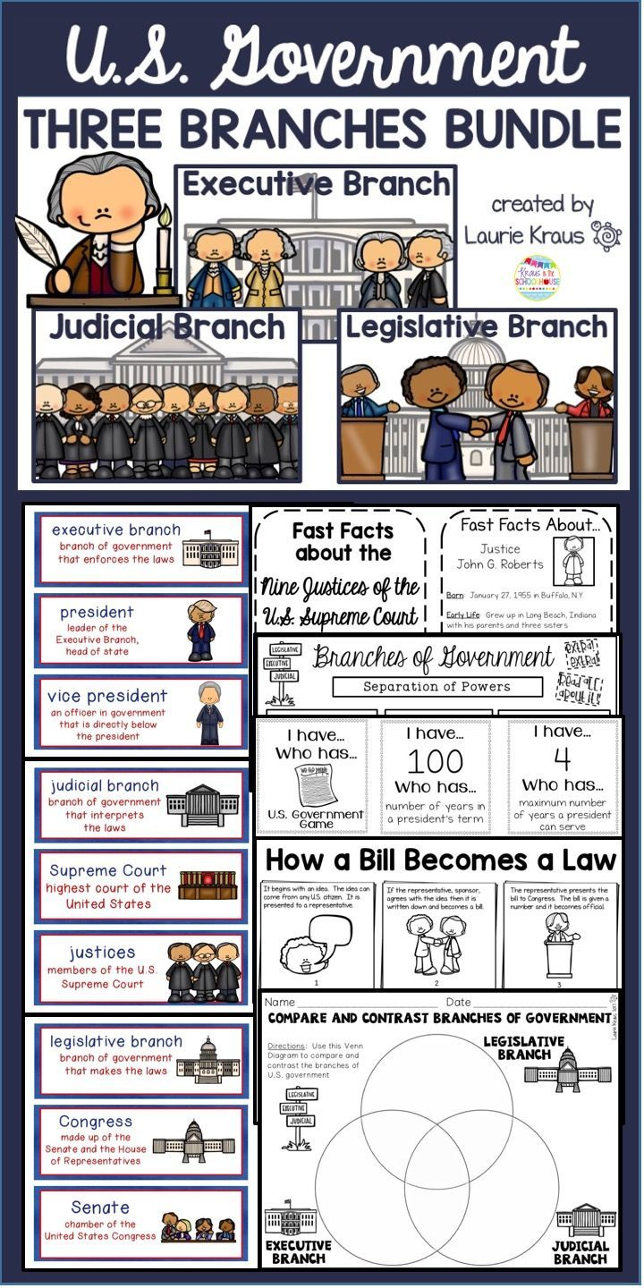 Are you teaching your students about the three branches of government? The executive branch, legislative branch, and judicial branch are an integral part of the U.S. government. Learn about the roles of the U.S. president, Congress, and the Supreme Court. Vocabulary words, graphic organizers, research opportunities, and writing activities are all included.