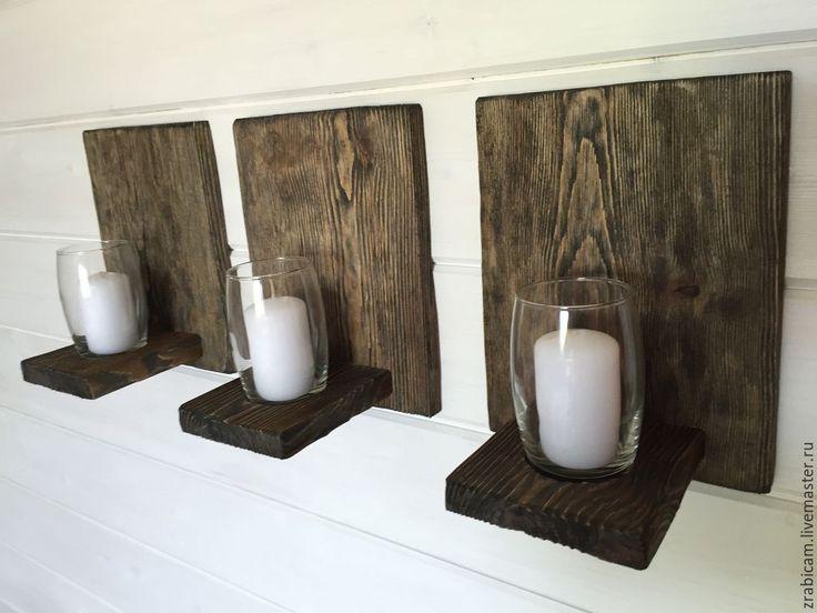 Купить Подсвечники настенные - темно-серый, подсвечник ручной работы, Декор, интерьер, сосна, стекло