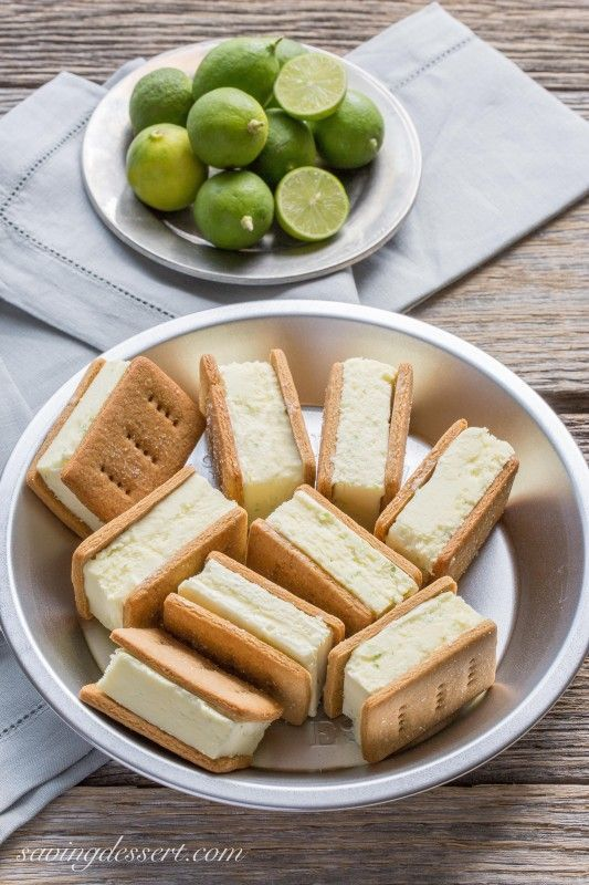 Key Lime Pie ~ Ice Cream Sandwiches - with homemade graham crackers and key lime gelato from Saving Room for Dessert
