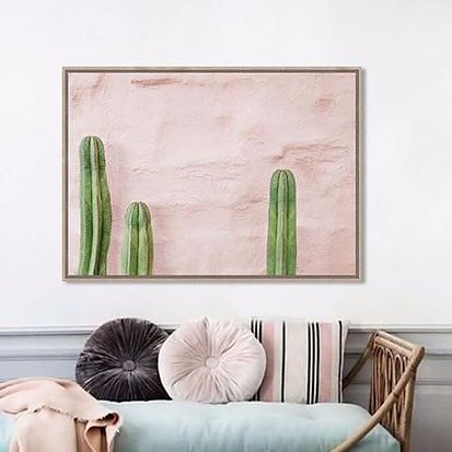 www.wannabesuburbanrockstar.com  Shut the Front Door's, Framed Canvas Pink Print Cactus - Worthy