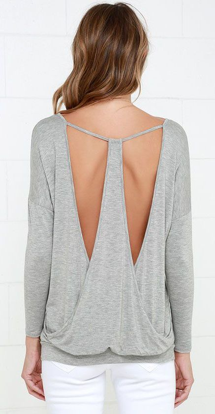 Drop It Low Grey Long Sleeve Top