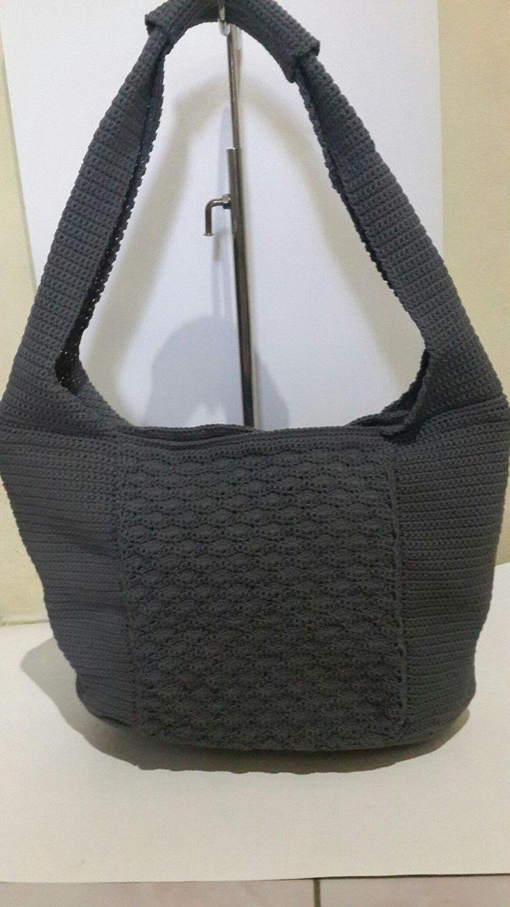 Crochet bag greys With manka handmade