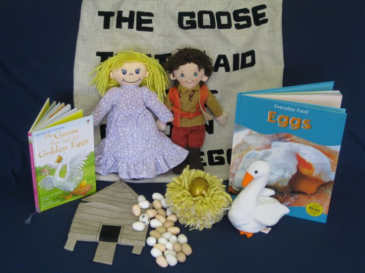 'The Goose That Laid Golden Eggs' Aesops fable. 2009. I bought the dolls at a table top sale and made them new clothes/hair; made the nest from knitting yarn; the gold egg is a music shaker; I made the game bag from scrap linen and the eggs from Fimo clay (they feel lovely, but now, after a few years use, several have teeth marks!). Myatt Garden Primary School Storysacks Library