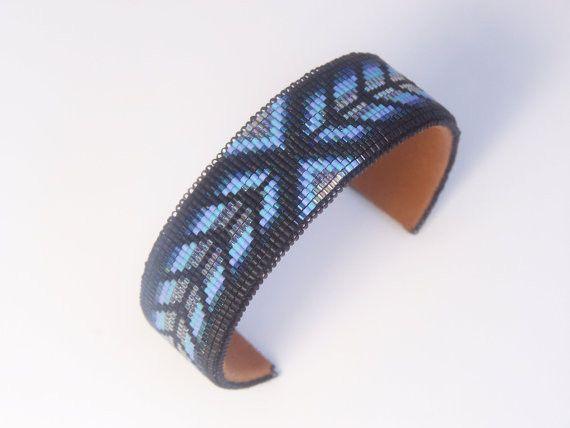 Native American Beaded Blue Herringbone Cuff Bracelet