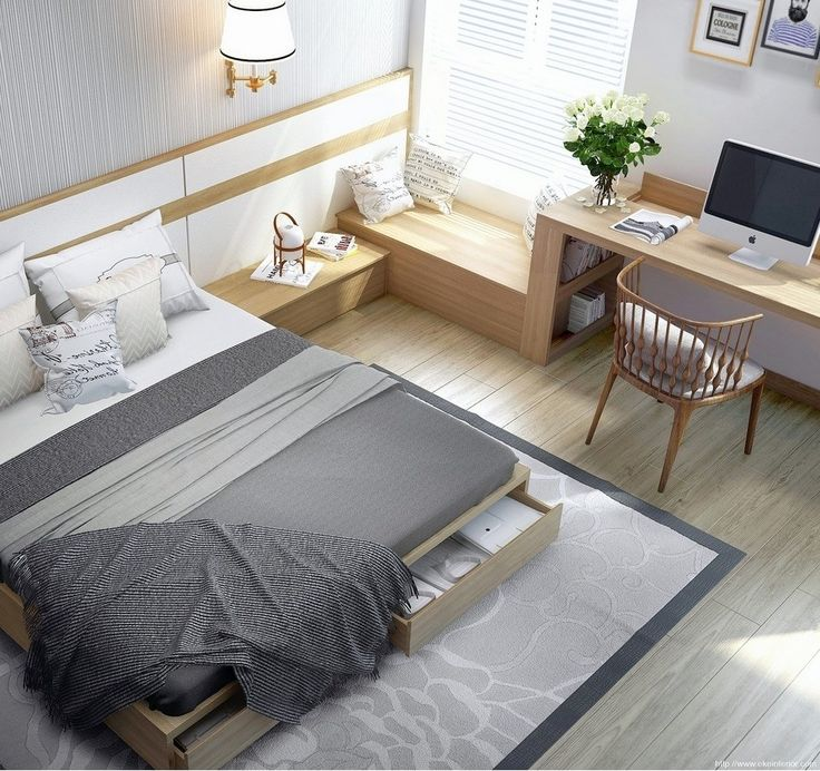 Greys and neutrals - clean room design with bed (with under-bed drawers) and desk maximizing use of small space.  (From Freshome)