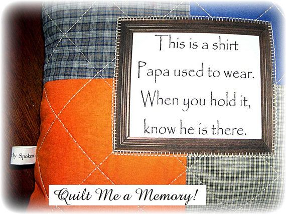 Custom Quilted Memory Shirt Pillow Down Payment with/without