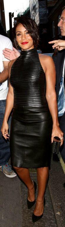 Who made  Jada Pinkett Smith's black leather dress?