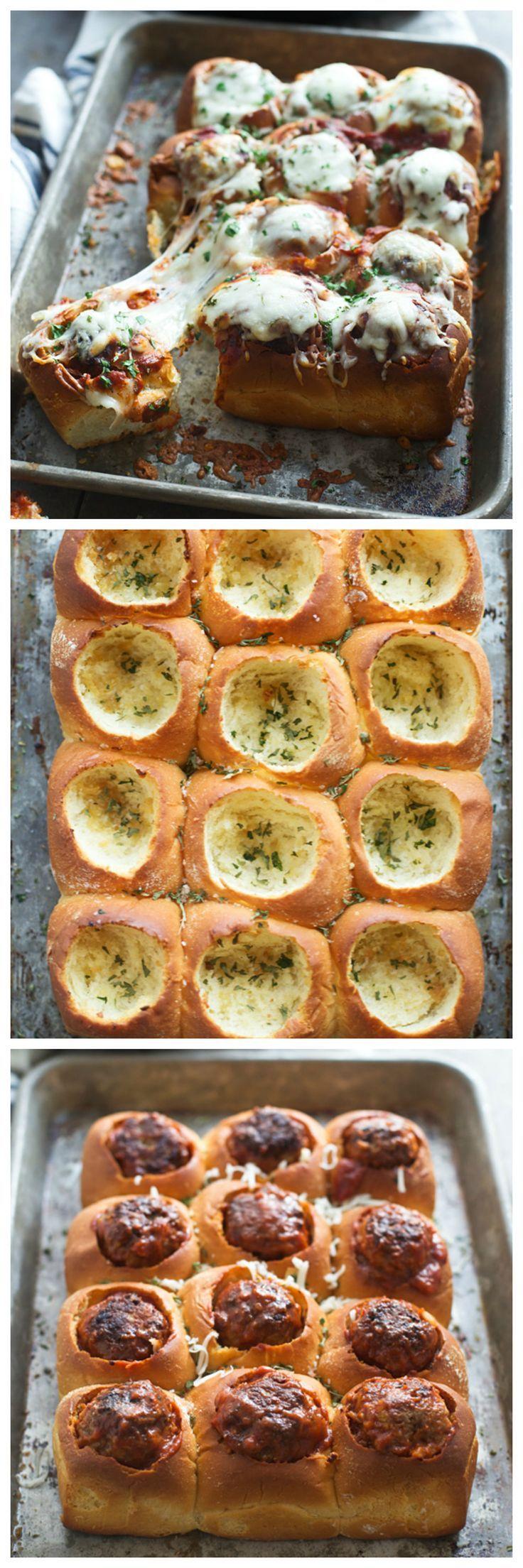 Cheesy Garlic Bread Meatball Sliders (Or rolls)
