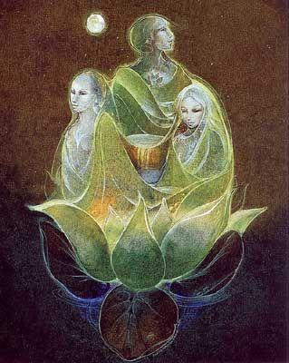 Susan Seddon Boulet - Triple Goddess - 1979?  Symbole des trois aspects de la Grande Déesse, la Triple Déesse, trinité originelle, constitue la plus ancienne représentation de la divinité multiple. C'est une image universelle, un motif présent dans toutes les parties du monde.