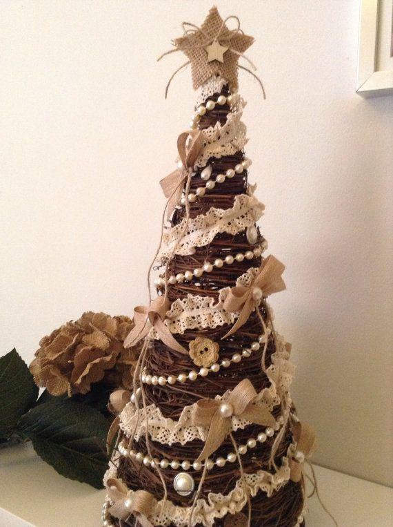 Christmas Tree / Small Xmas Tree / Grapevine Christmas Tree / Vintage  Chtistmas Tree Decor / Burlap Xmas Tree / Rustic -Handmade Xmas Tree