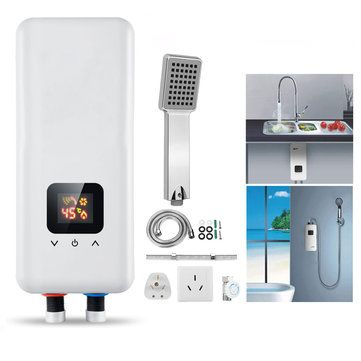 220V 5500W Mini Tankless Instant Electric Hot Water Heater Set Bathroom Shower