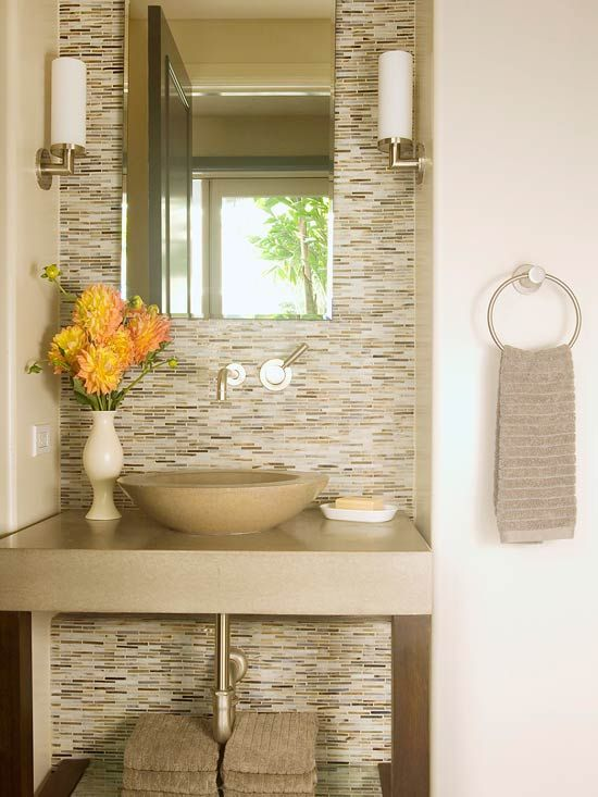 Neutral color bathroom design ideas powder glass mosaic tiles and neutral bathroom - Small half bathroom tile ideas ...