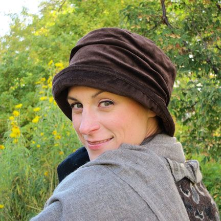 Annie Velvet Crusher.  Cute, Comfortable and Warm! Wear with your favorite jeans for a casual look, or dress it up with a flower or pin. Soft velvet exterior with a buttery-soft quilted satin lining.  A great winter hat for cancer patients, full coverage and soft interior. 4 colors.