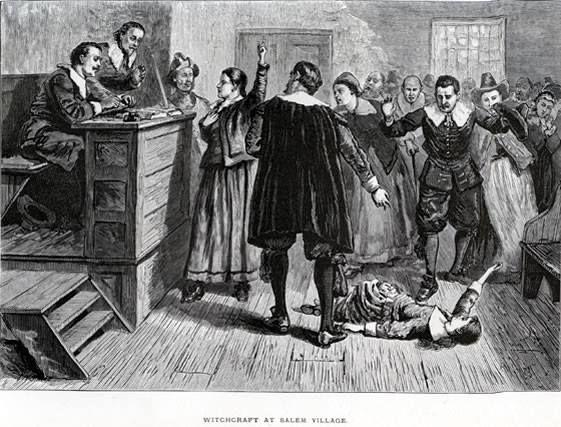 No dia 18 de agosto de 1692, ocorre o julgamento das Bruxas de Salém: cinco mulheres e um clérigo são executados após terem sido acusados de bruxaria.  Na imagem, ilustração de 1876 da sala de audiências, onde ocorriam as acusações. A moça no chão é, provavelmente, Abigail Williams, uma das testemunhas de acusação.
