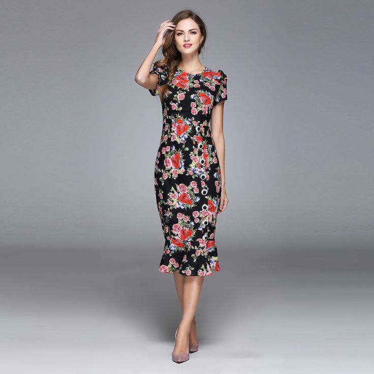>> Click to Buy << Best Quality  2017 Spring New Arrival Slim O-Neck Colorful Flowers Print Bows Full Sleeve Mid-calf Long Trumpet Dress Women #Affiliate