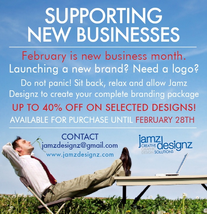 SUPPORTING NEW BUSINESS OWNERS THROUGH DESIGN - Special branding package available until Feb 28th! Secure yours today!  Contact us ---> www.jamzdesignz.com/contact