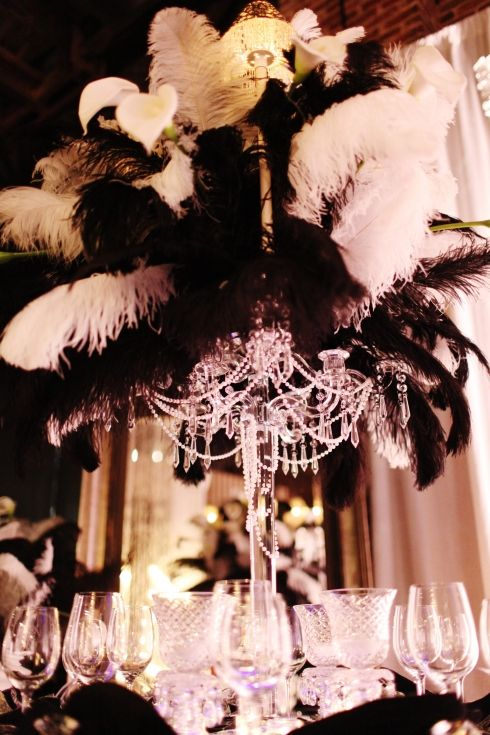black & white feather centerpiece - again was this what you were thinking? tal