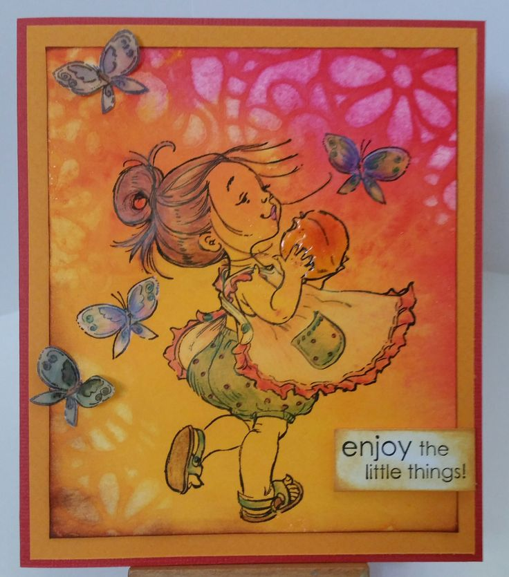 Penny Black stamps: You are a Peach 40-124; Enjoy 3410D.  Stencil: Mini Swirly garden TCW325s. Card by Susan of Art Attic Studio
