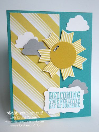 Spread sunshine with this fun card layout using Ray of Sunshine stamp set and Sweet Taffy designer paper… #stampyourartout #stampinup - Stampin' Up!® - Stamp Your Art Out! www.stampyourartout.com