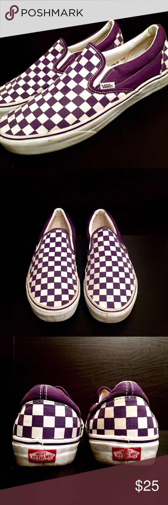 ♂️MENS | Vans Classic Slip-on Good condition! Purple and white canvas. Vans Shoes Loafers & Slip-Ons