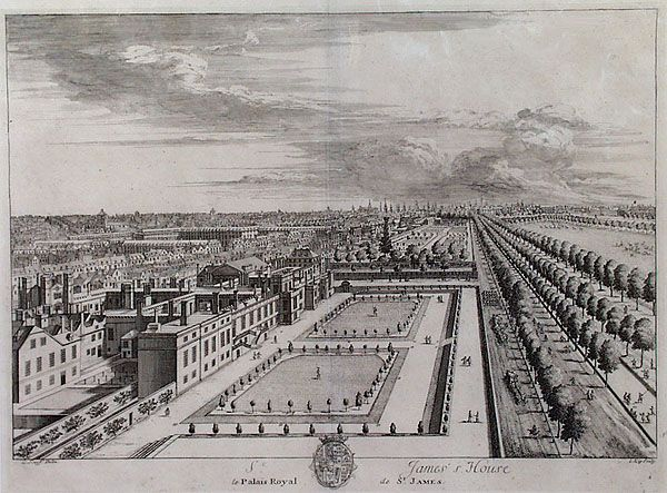 St James's Palace, left, and The Mall, 1715.