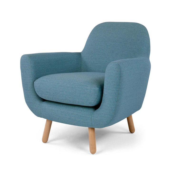 The stunning Jonah armchair in marine blue from Made. This retro armchair is the perfect accompaniment to a contemporary style living room.