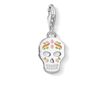 Charm - lobster clasp - 925 Sterling silver - orange, pink, green enamelled Día de los Muertos: the skull mask with artistic, colourful decoration is a reminder of the finiteness of life and urges us to the make the most of chances and possibilities.