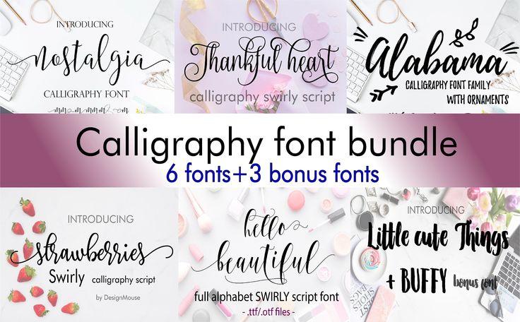 Download Font Bundle Fonts Fancy Fonts Swirly Fonts Digital Font ...