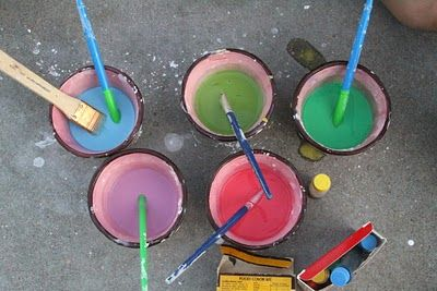 Pavement paint:  mix 1/4 cornstarch with 1/4 cup water, add drops of food colouring