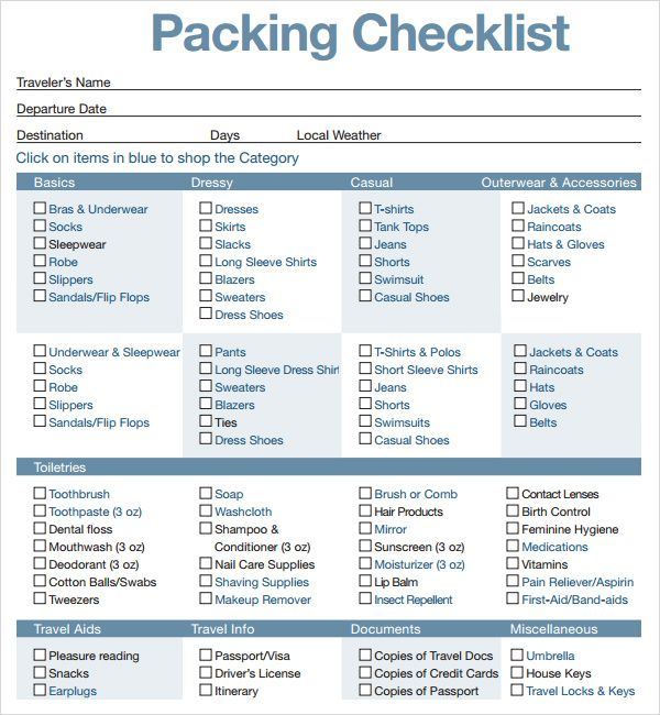 The 16 best Travel Checklist images on Pinterest Checklist