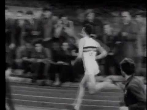 May 6, 1954:  Medical student Roger Bannister breaks the four-minute mile during a track meet in Oxford, England, finishing in 3 minutes 59.4 seconds.