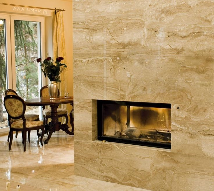 Obudowa kominka wykonana z marmuru Breccia Sarda, marmur układany w slabach, łączenie krawędzi pod kątem 45 stopni. / www.i-mar.pl / Fireplace casing made of marble #BrecciaSarda. / #kominek #kamieniarstwo #marmur #photo #interior #masonry #cream #style #architecture #poland #vintage #marble
