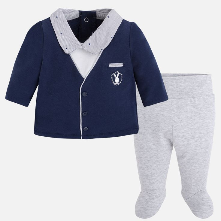 Mayoral Erkek Bebek Kışlık Patikli Pantolon S-shirt Set Koyu Mavi