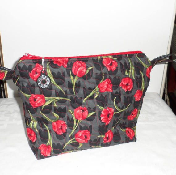 Quilted Floral Fabric Cosmetic Bag/Hand Made Zippered Cosmetic Bag/Red Tulips Against Black Background Fabric/Quilters' Cotton Cosmetic Bag
