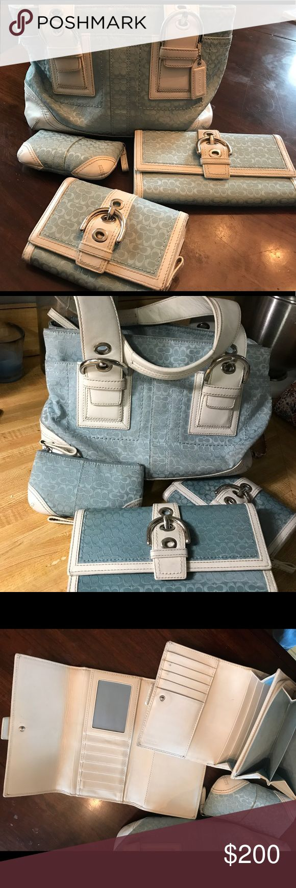 Coach Purse Set Light blue and white purse, checkbook trifold, wallet, and change purse. In great used condition. Exterior just cleaned Coach Bags Shoulder Bags