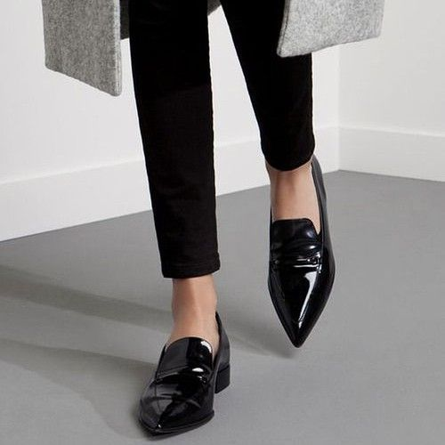 pointy patent flats