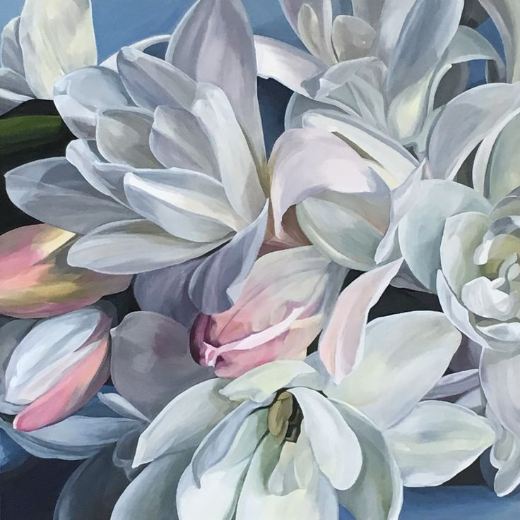 'Heaven Scent' the perfumed tuberose  76 x 76 cm Jenny Fusca Paintings
