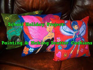 A Pretty Talent Blog: School Holiday Project: Hand-painting Cushions