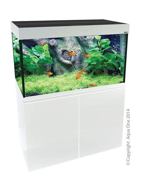Aqua One Brilliance 120 White Aquarium Set. Size: Aquarium: 120 x 45 x 65cm, Cabinet: 120 x 45 x 75cm. Volume: 292Liters. for sale Hollywoodnz.