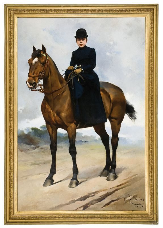 Josep Cusachs (Montpellier, 1851 - Barcelona, 1908) Equestrian portrait of…