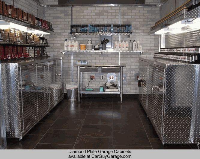 Http://www.carguygarage.com Diamond Plate Garage Cabinets