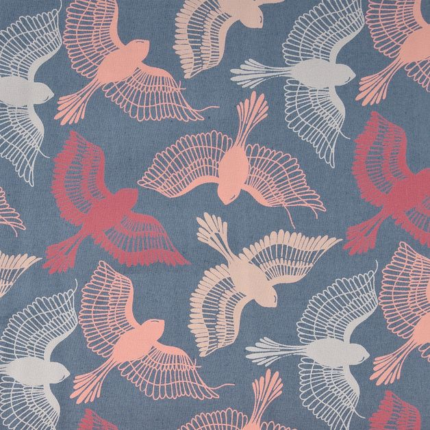 Bio Stoff mit Vogel Muster, Frühlingsmuster, Nähmaterial, leichte Stoffe / fabric with bird pattern, spring pattern, sewing material, lightweight fabric made by DasBlaueTuch via DaWanda.com