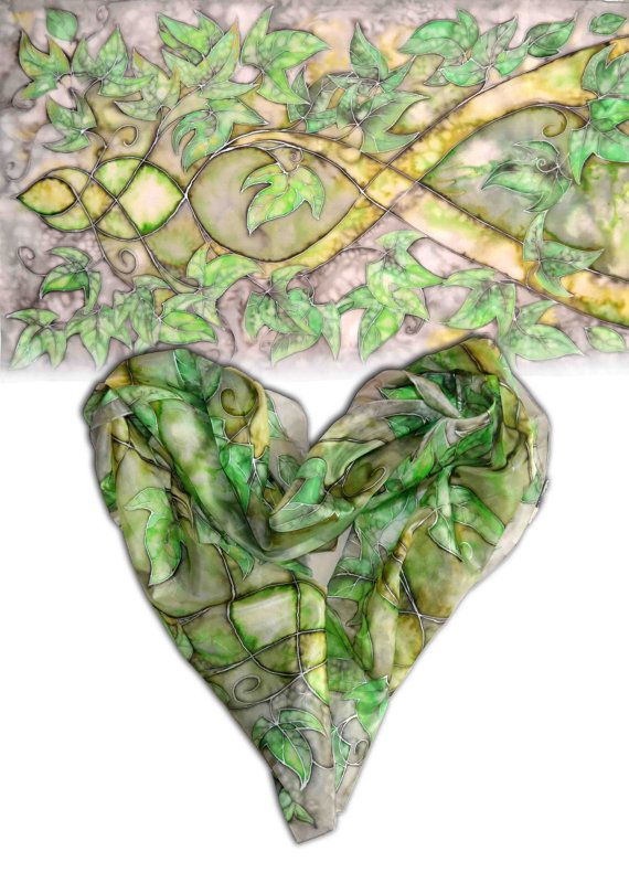 Large handpainted silk scarf  Elven dream silk by JankaLart