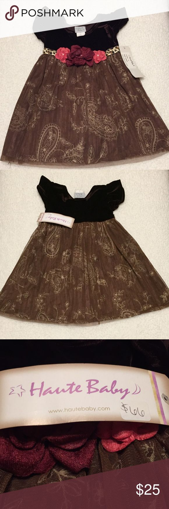 NWT Haute Baby girl dress NWT! 12 mo Haute Baby girl's dress. Deep chocolate velvet top with a beautiful flower sash. Skirt is double layered with mesh over an embroidered layer Dresses Formal